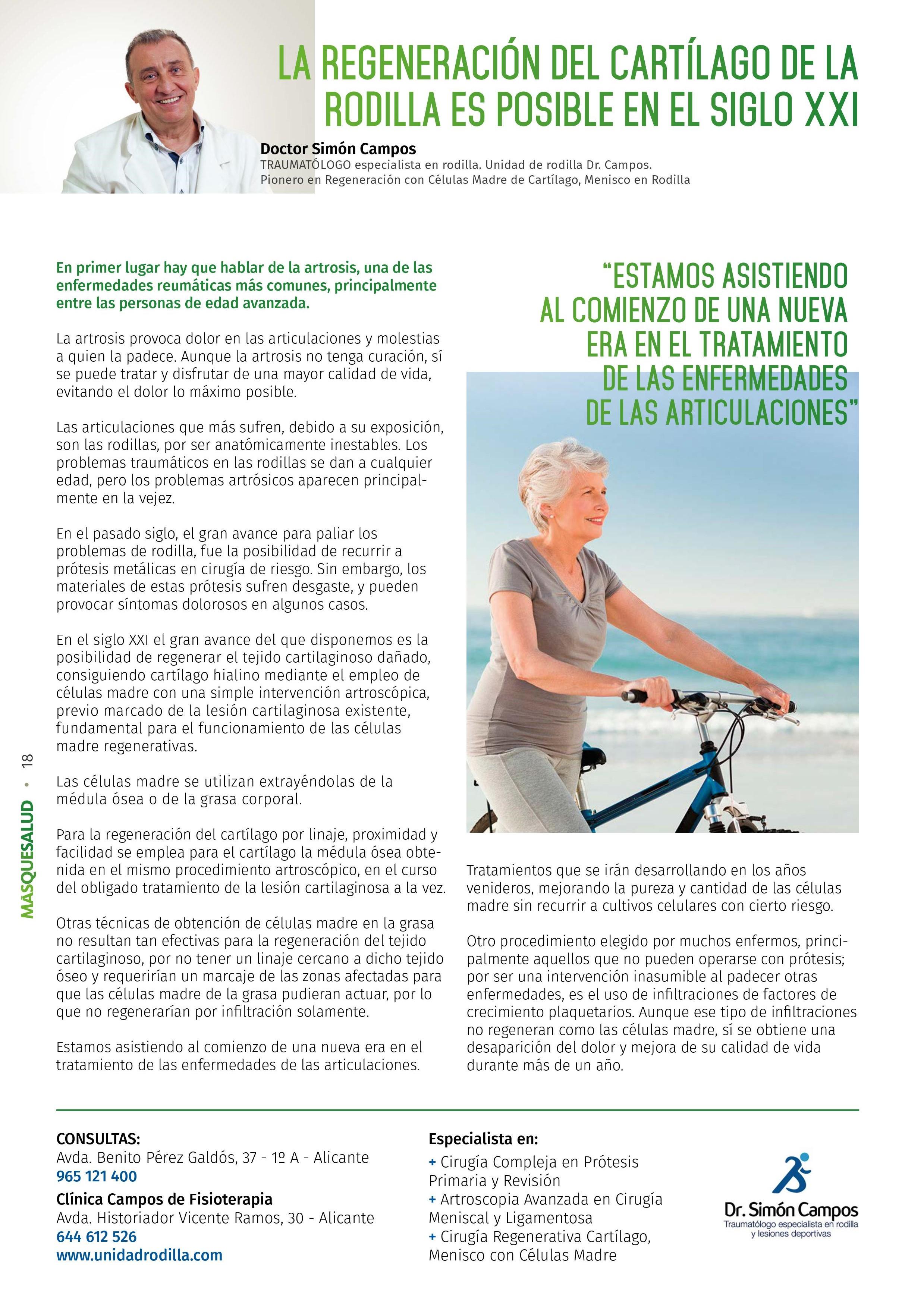 la regeneración del cartílago de la rodilla es posible en el siglo